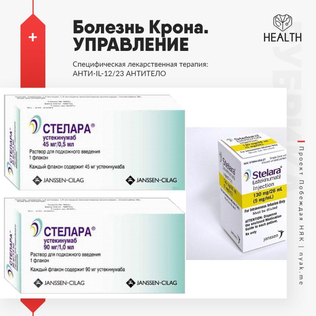 Болезнь Крона. Управление. Специфическая лекарственная терапия. Анти-IL-12,23 антитело. Устекинумаб при болезни Крона