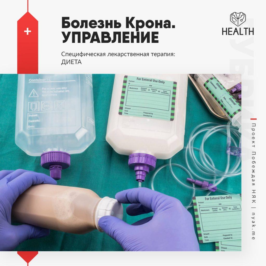 Болезнь Крона. Управление. Специфическая лекарственная терапия. Диета. Элиминационное энтеральное питание