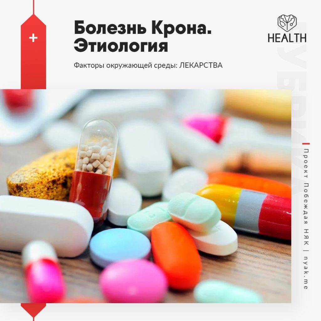 Этиология болезни Крона. Факторы окружающей среды. Лекарства