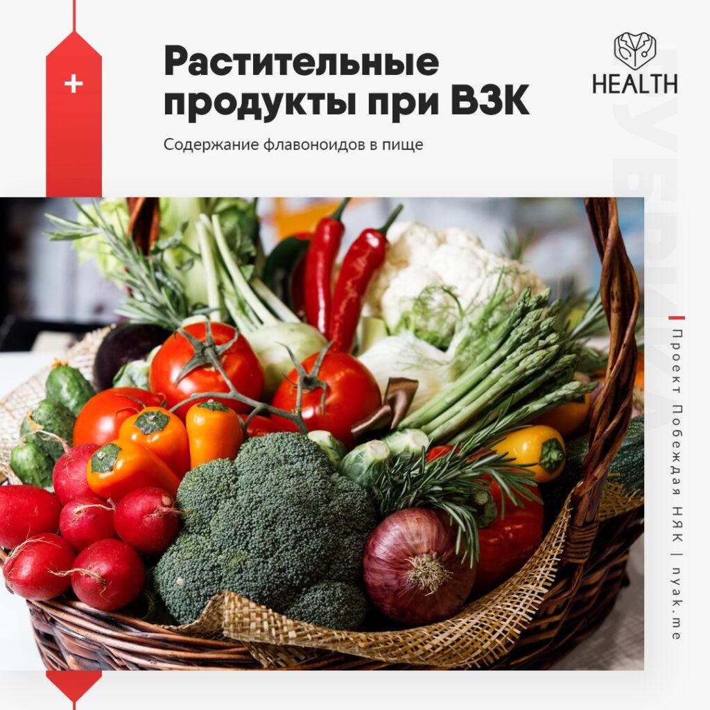 Содержание флавоноидов в пище. Свежие овощи и фрукты при НЯК